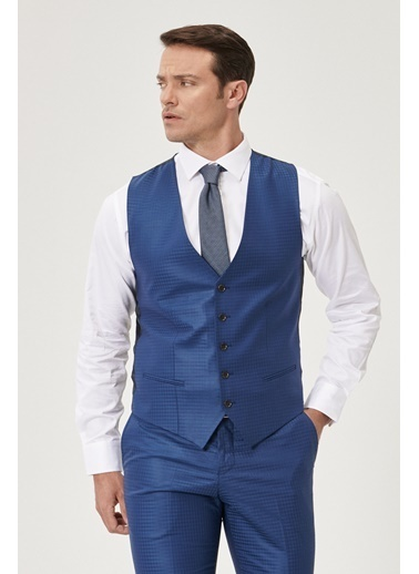 Beymen Business Slim Fit Yelekli Takım Elbise 4B3119200007 Mavi
